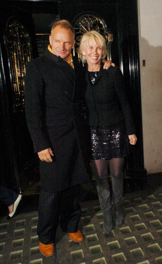 Sting and Trudie Styler leaving Scotts Restaurant in Mount Street 