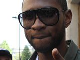 Usher at the studios of Radio 1, London