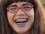 America Ferrera on-set in Coney Island filming for the TV series 'Ugly Betty', New York, America