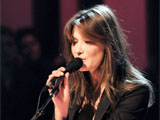 Carla Bruni-Sarkozy performing on 'Later Live with Jools Holland' TV programme, London