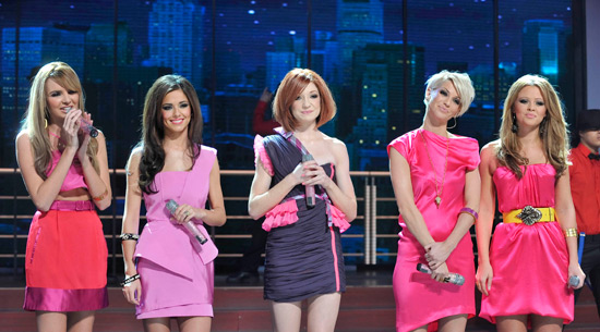 Girls Aloud looking pretty in pink.
