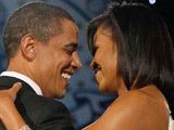 President Barack Obama and First Lady Michelle Obama dance at the Neighborhood Inaugural Ball in Washington DC