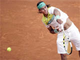 Rafael Nadal of Spain during his victory over Djokovic 6-3, 2-6, 6-1 in the Monte-Carlo Rolex Master's tennis tournament Roquebrune-Cap-Martin, France