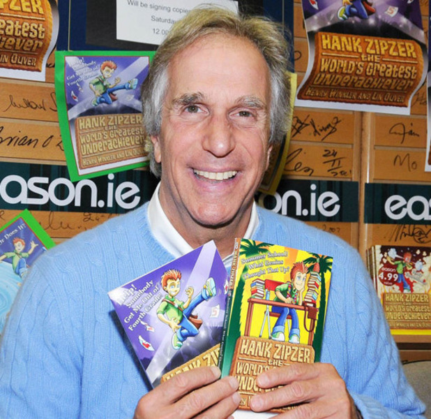 Henry Winkler, aka The Fonz, signs copies of his new children's book 'Hank Zipzer' at Easons Dublin, Ireland.
