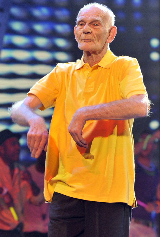 Geriatric b-boy Fred Bowers busts a move at the Britain's Got Talent semi final