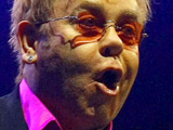 Elton John on stage at his Glasgow concert