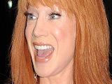 Kathy Griffin leaving her New York City hotel room, looking noticeably nervous as she heads for an appearance on US talkshow 'Late Show With David Letterman'
