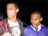 Marvin Humes and Jonathan Gill aka JB from JLS outside the Baroque club, London.