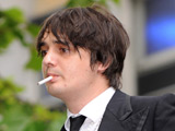 Pete Doherty leaves a Magistrates court after attending a committal hearing on charges of dangerous driving, Cheltenham