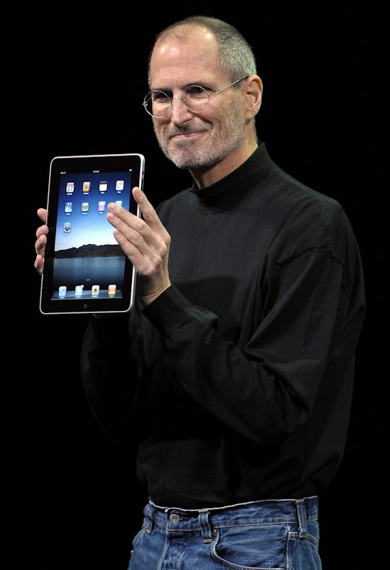 Apple CEO Steve Jobs unveiling the new Apple 'iPad' tablet computer