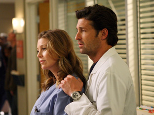 Dr Meredith Grey and Dr Derek Shepherd in Grey&#39;s Anatomy
