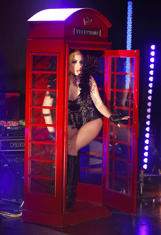 Lady GaGa in a telephone box