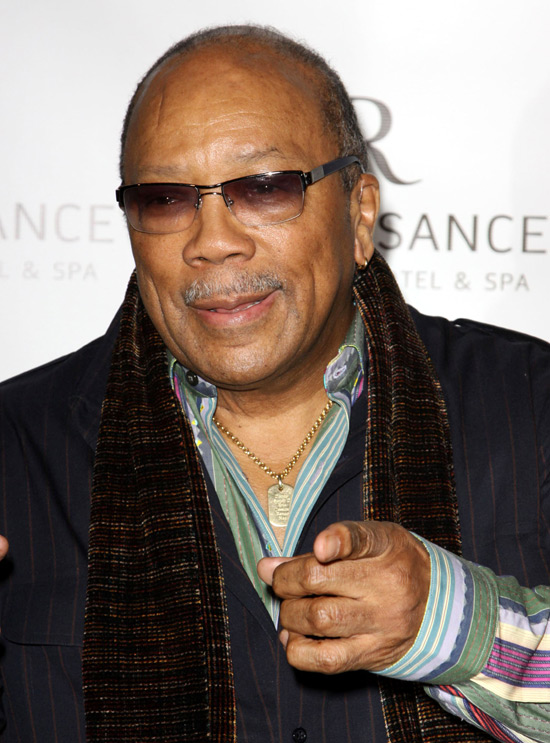Quincy Jones at a book signing for Emilio Estefan's 'The Rhythm of ...: http://digitalspy.com/music/news/a608796/quincy-jones-spotify-is-not-the-enemy.html