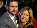 "Jennifer Aniston compliments her ""manly"" Bounty Hunter co-star Gerard Butler."