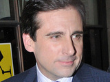 Steve Carell leaving the Radio One studios with a 'Thomas The Tank Engine' easter egg