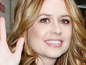 Jenna Fischer says that she has yet to experience any morning sickness during her first pregnancy.