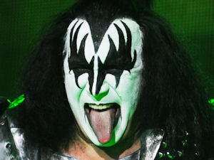 Gene Simmons of Kiss in concert at London's Wembley Arena