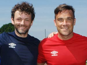 Michael Sheen and Robbie Williams at Soccer Aid