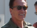 Sylvester Stallone and Arnold Schwarzenegger seen leaving Cafe Roma in Beverly Hills, Los Angeles