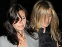 Courteney Cox comments on Jennifer Aniston's reaction to her on-screen belly shaking.