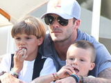 David Beckham with sons Romeo and Cruz