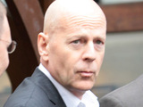 Bruce Willis outside Red Hog restaurant after having a business meeting, Warsaw, Poland