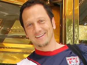 Rob Schneider leaves his hotel wearing a USA football shirt, New York City