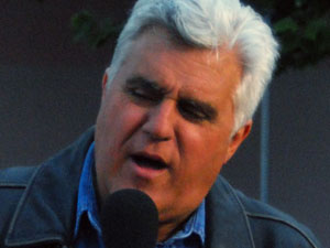 Jay Leno filming a segment for 'The Tonight Show with Jay Leno' on Melrose Avenue
