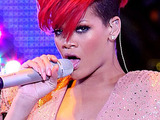 Rihanna performs live at the event center in the Mandalay Bay Hotel & Casino