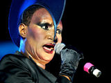 Grace Jones performing on Day 3 of the 'Lovebox Festival' held in Victoria Park, London