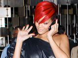 Rihanna leaving a restaurant