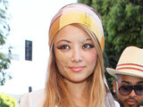 Tila Tequila shopping in Beverly Hills, sporting recent injuries