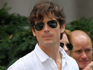 Matt Bomer on set for 'White Collar'