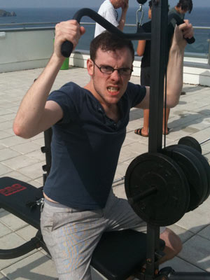 Chris works out