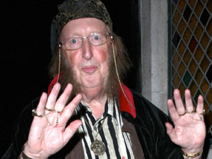 John McCririck arriving at the Ivy restaurant in a dirty shirt