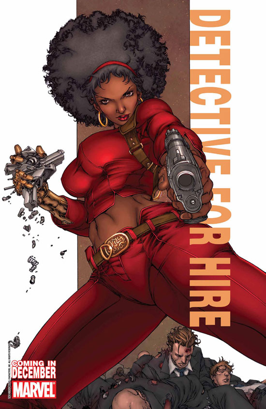 Misty Knight alongside the caption 'Detective for Hire' (Marvel'
