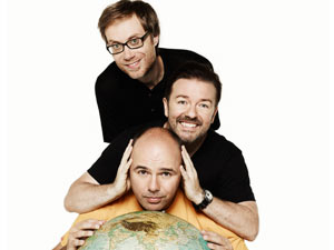Karl Pilkington, Ricky Gervais and Stephen Merchant in An Idiot Abroad