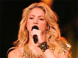 Shakira performing on stage in Florida