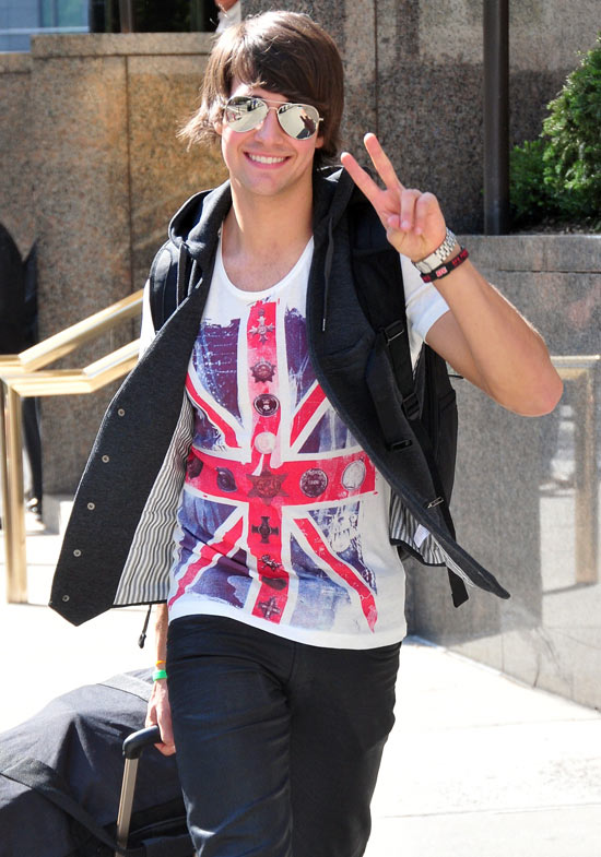 James Maslow of the band Big Time Rush departs his hotel, New York ...