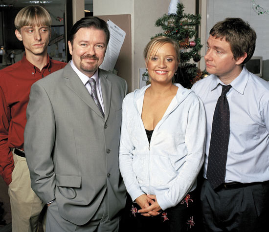 Mackenzie Crook, Ricky Gervais, Lucy Davis and Martin Freeman