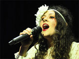 Eliza Doolittle performing at the Manchester Apollo arena, England