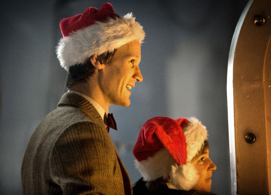 The Doctor in a Santa hat