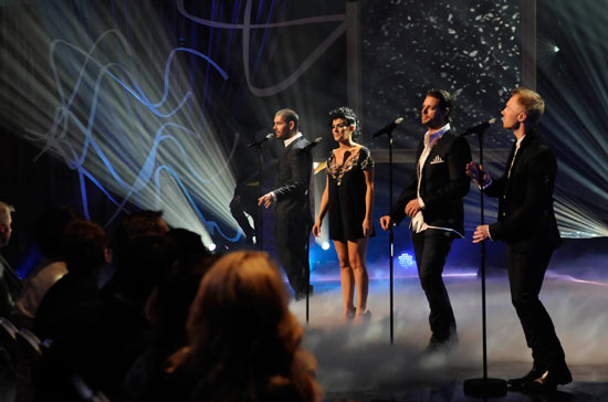 Kym Marsh singing with Boyzone