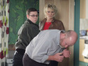 Ben punches Phil following his return to the Square in tonight's EastEnders.