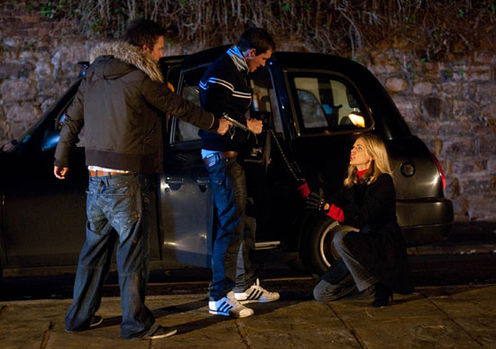 Rhys Ashworth (Andrew Moss), Gilly Roach (Anthony Quinlan) and Donna Air (Sophia)