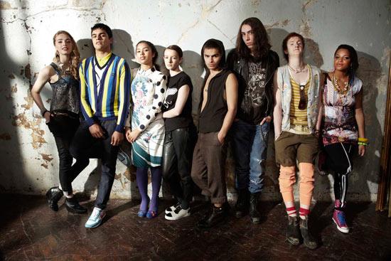Skins season 5 cast - Mini, Nick, Grace, Franky, Matty, Rich, Alo and Liv