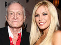 Hugh Hefner insists that he's very happy with fiancée Crystal Harris.