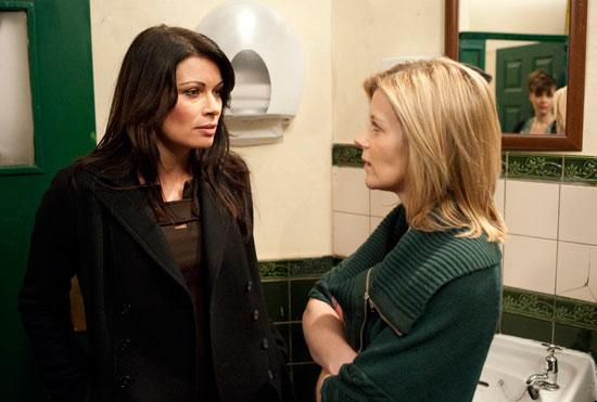 Carla follows leanne into the toilets and they argue over her affair