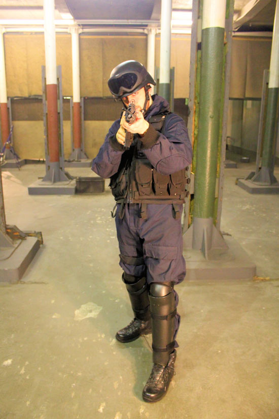 Morgan in SWAT gear