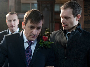 Peter can barely contain his hatred for Nick as they go down the aisle